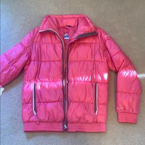 Columbia pink puff/down jacket. Kids size: 14/16
